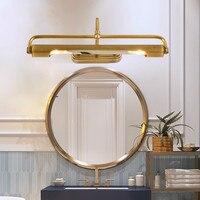 Медный светодиодный зеркальный налобный фонарь длинная трубка настенный светильник для гардеробной прикроватный настенный светильник пр