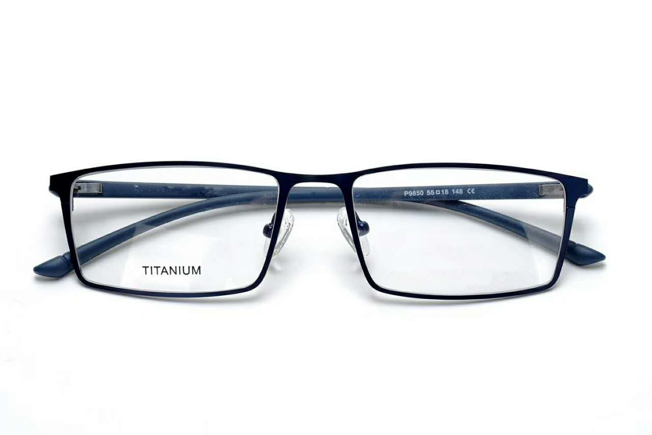 Titanium Glasses Frame Men Ultralight Square Myopia Prescription Eyeglasses Male Metal Full Optical Frame Screwless EyewearP9850