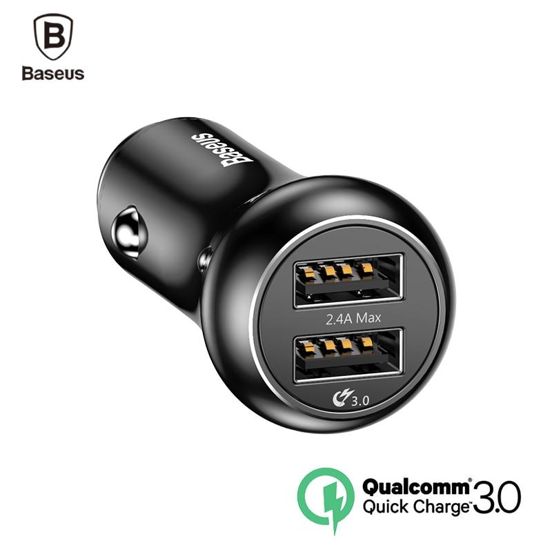 Baseus QC 3 0 Quick Charger Turbo USB Car Charger 3 0 Dual USB Metal Car