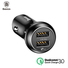 Baseus QC 3.0  Quick Charger Turbo USB Car Charger 3.0 Dual USB Metal Car Mobile Phone Charger for iphone Samsung Huawei charger