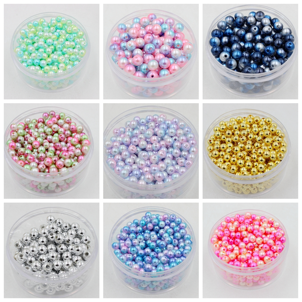 20Pcs 8x11mm Glass Pearl Oval Two Colors Spacer  Loose Beads Jewelry Making SS20