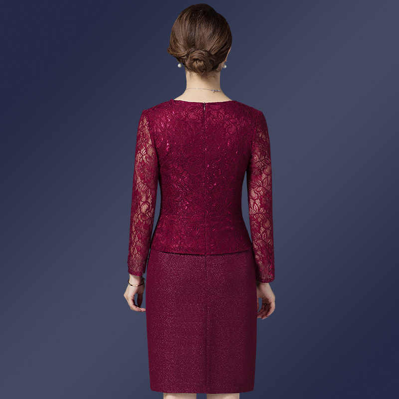 f71ed400ca099 It's Yiiya Mother of the Bride Dresses Plus Size O-Neck Full Sleeve Lace  A-Line Fashion Designer Elegant Mother Dress M041