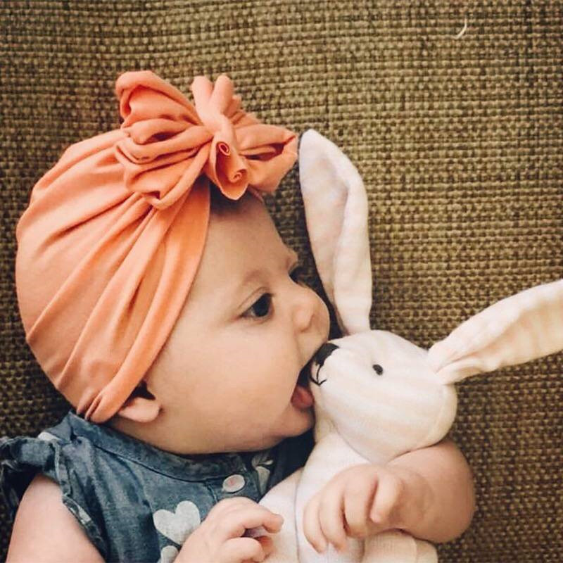 2019 Spring Summer Kids Boho Turban Bow Hat Baby Flroal Caps Boy Girls Princess Children's Hats Baby Beanie Hats Accessories