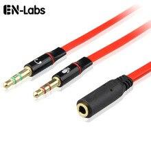 En Labs 3.5mm 4 Pole Female naar 2 3 Pole Hoofdtelefoon Mic Audio Y Splitter Platte Kabel, 3.5mm Audio + Microfoon Male naar 4 Pole 20 CM