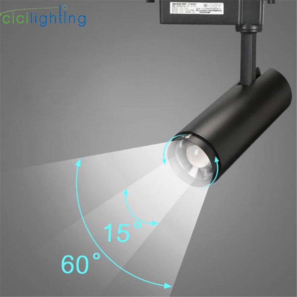 Moderno Zoom led luces de pista rail montado cob focos negro foco ajustable techo spot luz proyector lámpara industrial