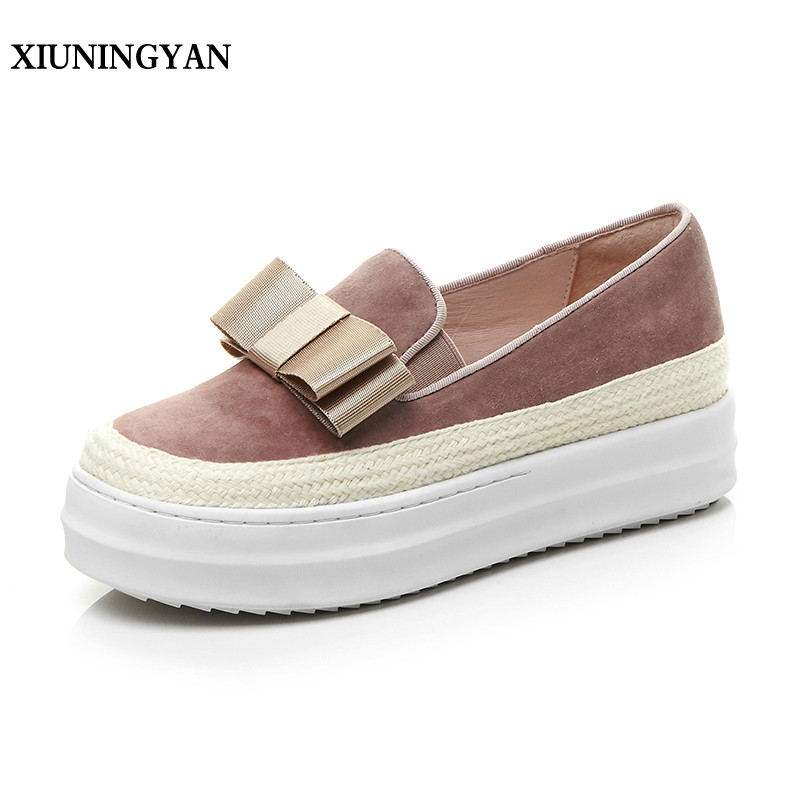 XIUNINGYAN 2018 High Quality Womens Flats Shoes Fashion Bow-knot Real Leather Woman Loafers Casual Slip on Women Platform Shoes lanshulan bling glitters slippers 2017 summer flip flops platform shoes woman creepers slip on flats casual wedges gold