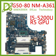 KEFU NM-A361 placa base para Lenovo G50-80 placa base de computadora portátil G50-80 ACLU3/ACLU4 NM-A361 I5-5200U R5 GPU original 100% prueba(China)
