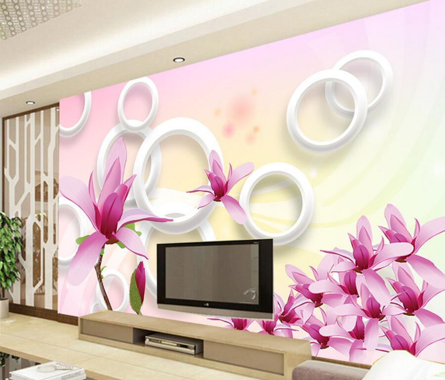 Us 145 50 Offcustom 3d Muralsbeautiful Fresh 3d Circle Pink Orchid Papel De Paredeliving Room Sofa Tv Wall Bedroom Modern Circle Wallpaper In