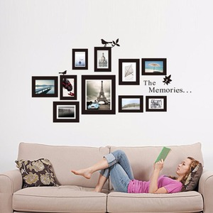 Hot 10x Picture Photo Frame Set Wall Mural Black Wedding Photos Frames Sticker Decal Decor Home DIY Removable New Drop shipping