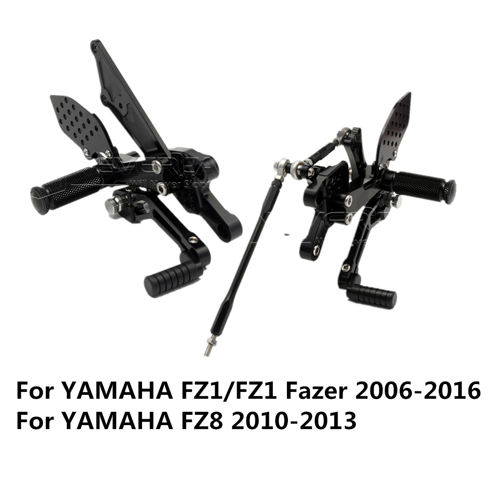 FZ1/FZ1 Fazer 2006-2016 FZ8 2010-2013 Aluminum Alloy Motorcycle Foot Rests Rear Set Adjustable Foot Pegs Rearset For Yamaha