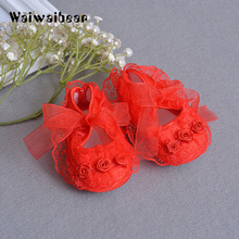 Waiwaibear Hot Sale  Baby Shoes Lace Flower Soft Soled First Walker Infant Toddler Princess Lace-Up For Newborn Girls