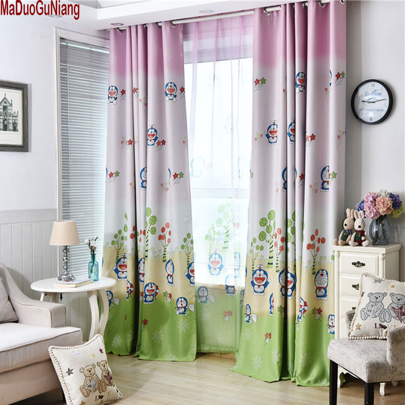 Us 8 0 Boys Doraemon Curtains And Tulle Blackout D Cloth Nursery Baby Room Draperie French Blinds For Kids Bay Window In From