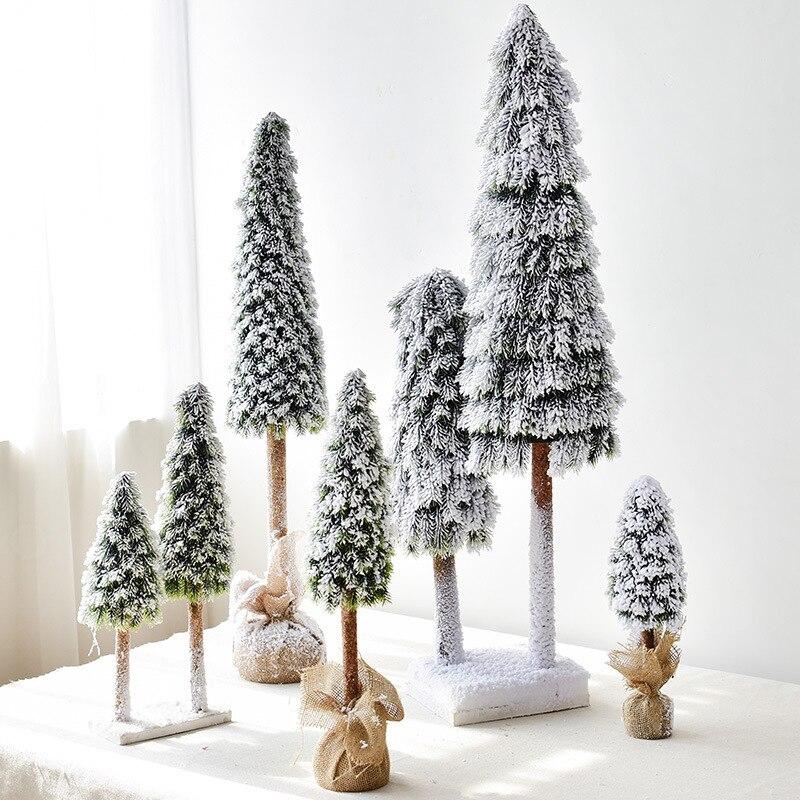 80/100 cm bricolage noël artificiel pulvérisation neige arbre faux pins nouvel an décorations pour maison neige gel Village accessoires