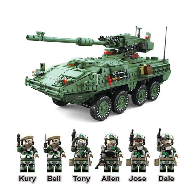 купить Compatible Legoe Blocks Century Military MGS-M1128 TANKS Building Blocks Set Armored Vehicles DIY Bricks Toys For Children Gifts онлайн