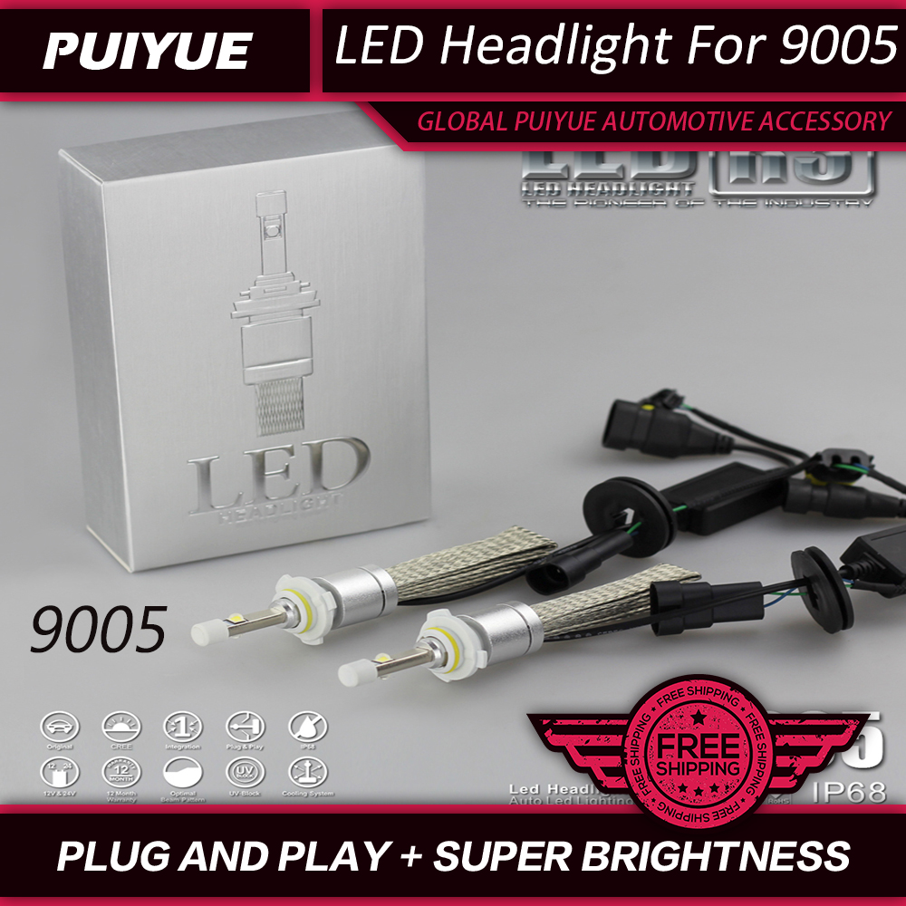 PUIYUE Car Styling 90W 11000lm 9005 CREE Chips LED Headlight Fog Driving Light KIT 6000K White H1 H3 H4 H7 H8 H9 H10 9005 9006 maped степлер 24 6