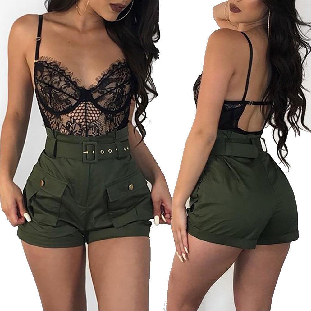 2018 Latest Style Ladies Women Hot Shorts Summer Army Green Casual Loose Shorts Fashion High Waist Short