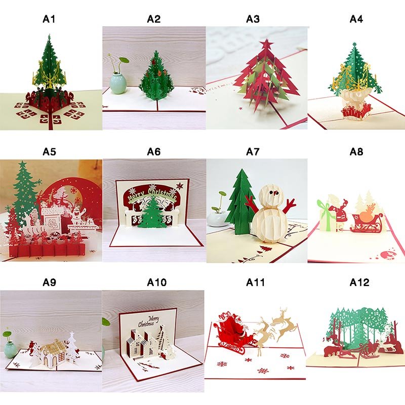 1pcs 3D Christmas Cards Greeting Handmade Paper Card