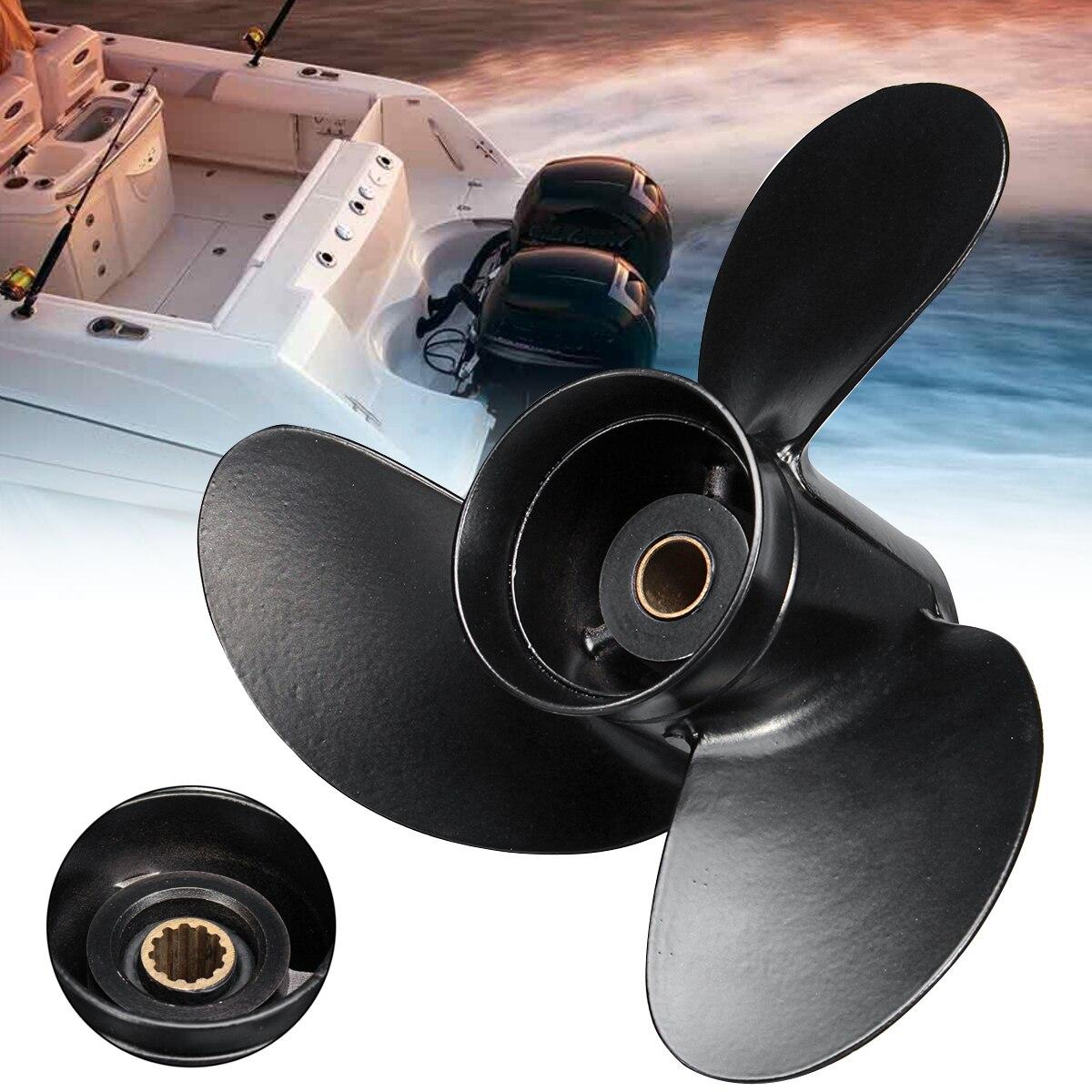 3B2W64517-1 8.5X9 Barca Fuoribordo Elica per Tohatsu Nissan-Mercury 8-9.8HP In Lega di Alluminio 12 Spline Tooths 3 Lame nero
