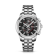BUREI 17003 Switzerland watches men Men's Luminous Chronograph Day and Date Watch with Silver Bracelet, Silver Bezel Black Dial