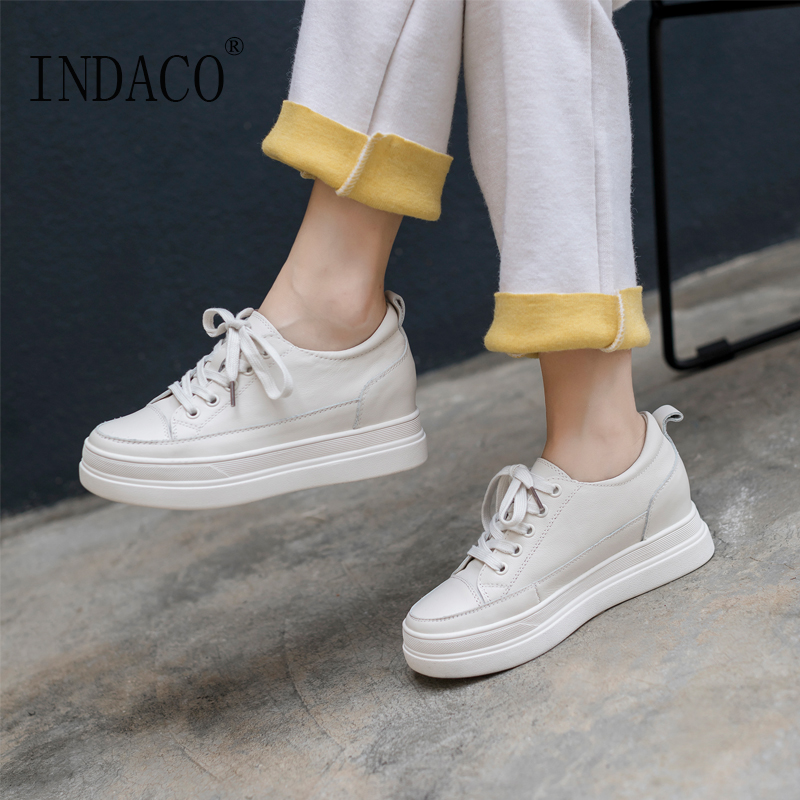 2019 Shoes Woman Sneakers White Leather Lace Up Height Increased Casual Shoes Women