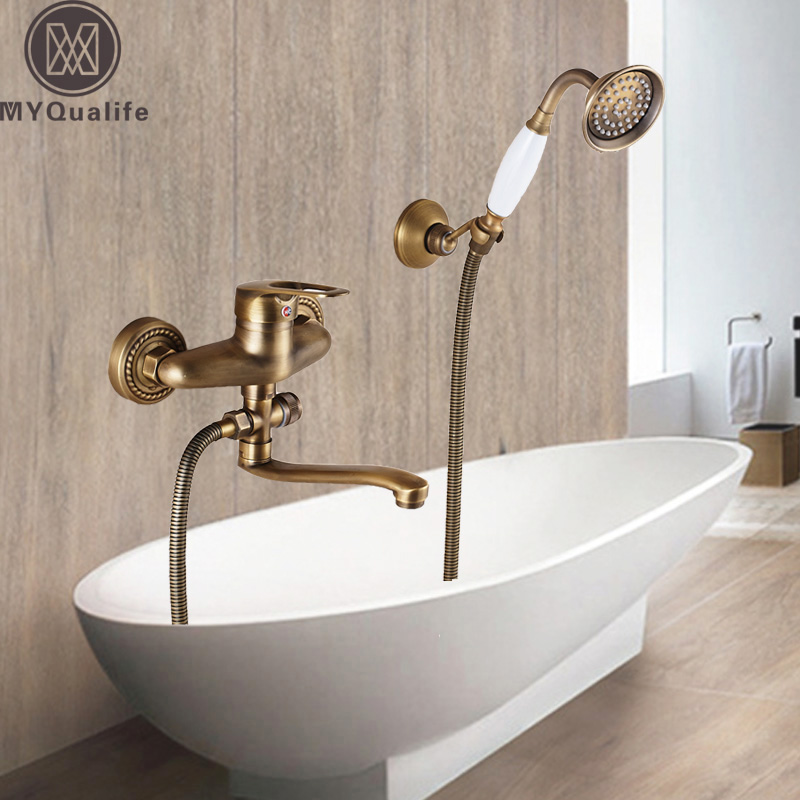 Brass Antique Bath Faucet Wall Mounted Cold and Hot Water Mixer Tap One Handle Long Nose Bathtub Faucets luxury wall mounted antique brass clawfoot bathtub faucet telephone style bath shower water mixer tap with handshower