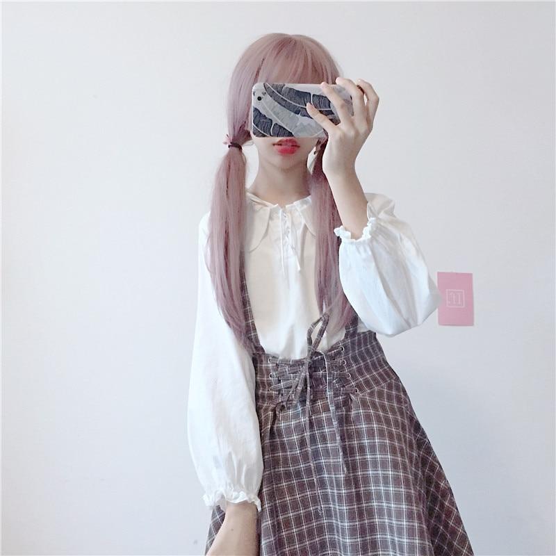 Womens Dresses Japan Kawaii Summer New Sweet Cute Bow Tie Thin Lattice Strap Dress Female Cute Korean Harajuku Cloth For Women