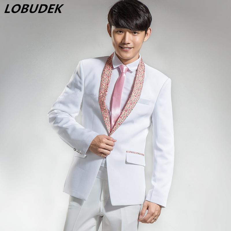 Male blue white color jacket Korean slim fashion costume show for party host studio stage wedding groom performance slim wear