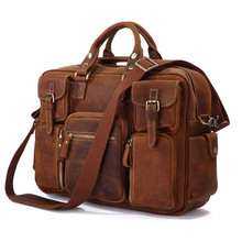 Hot Selling Rare Crazy Horse Leather Men's Briefcase Laptop Bag Tote Bag 7028B-1