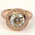 EDI Soild 14K Rose Gold Engagement Ring 1CT Round Cut Moissanite Diamond Lab Grown Diamond Wedding Rings Band  Womens Jewelry