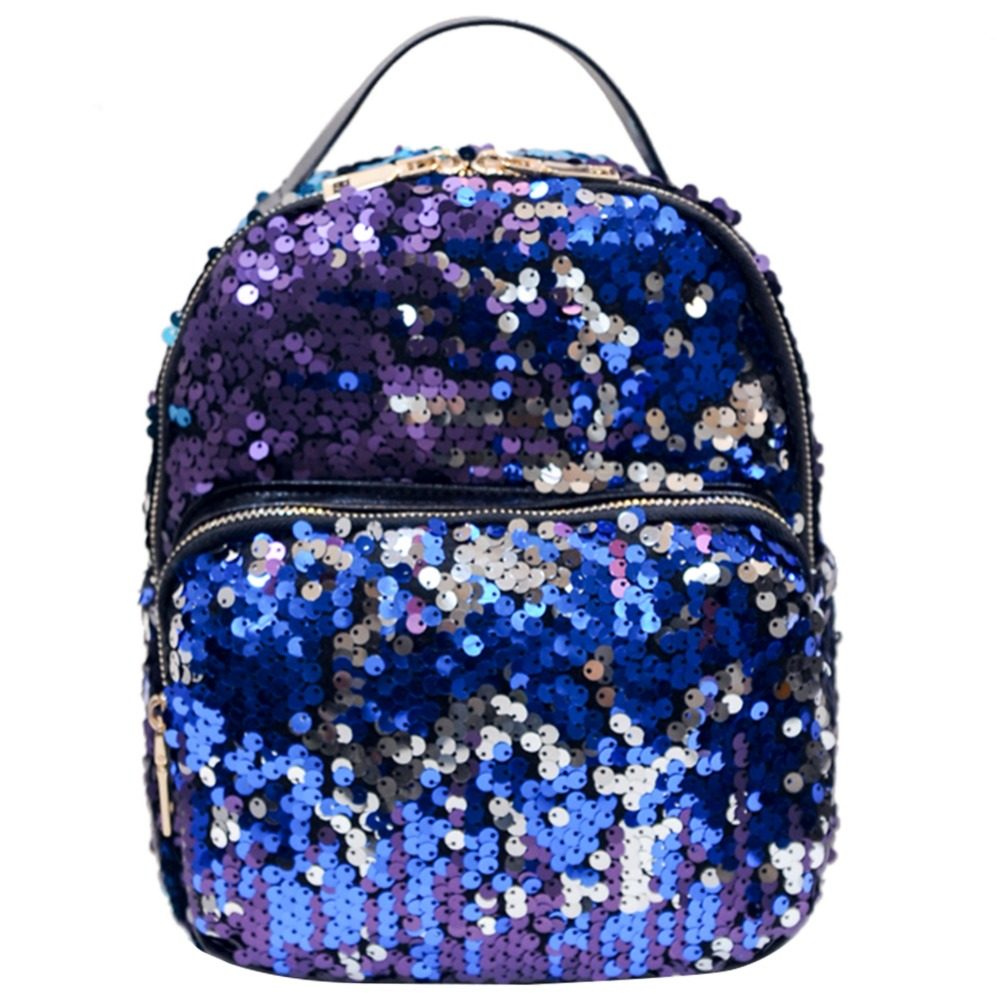 Mojoyce New Arrival Women All-match Bag Pu Leather Sequins Backpack Girls Small Travel Princess Bling Backpacks Mochila Feminina