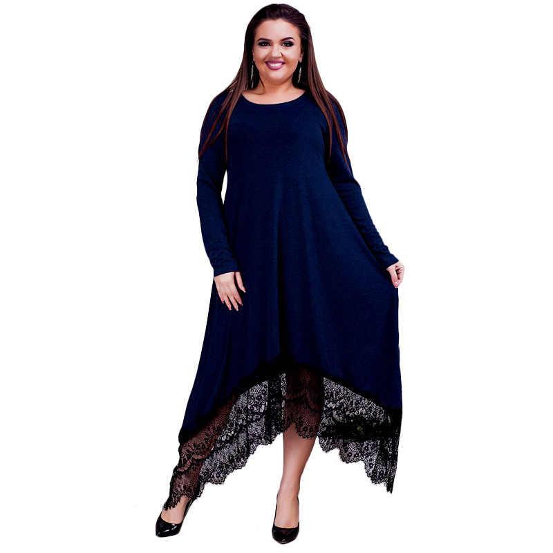 3f9b027c2740a 2019 New Arrival Women Irregular Lace Patchwork Long Dress Maxi Spring  Black Fat MM Dress Plus Size Casual Party Dresses Vestido