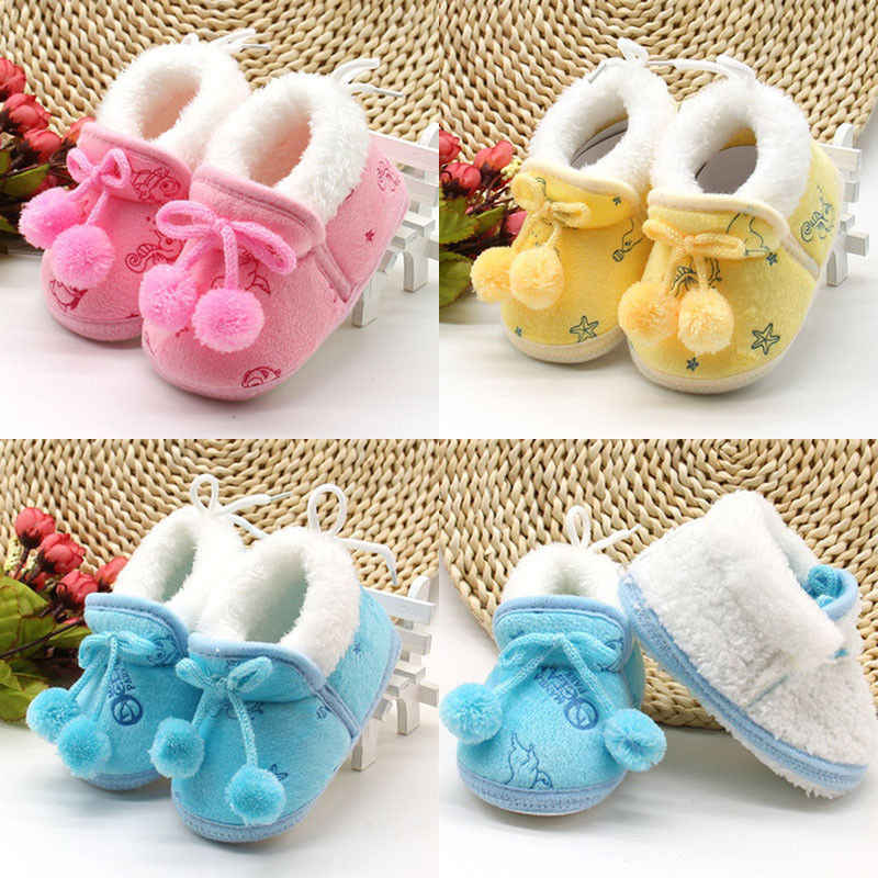 Winter Soft Sole Prewalker Crib Plush Boots Cute Newborn Baby Kids Girl Shoes