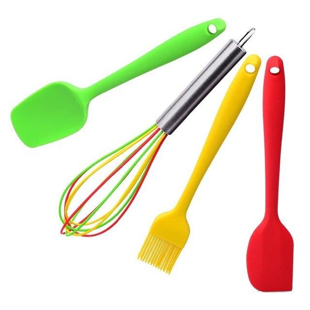 Cooking Tools 4pcs/set Silicone Kitchen Utensils Set Coating Spatula Spoon  Basting Brush Set Balloon