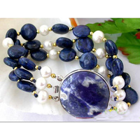 Perfect Women Birthday Chirstmas Gift Pearl Bracelet,3Row 12mm Blue Coin L apis Natural White Freshwater Cultured Pearl Bracelet