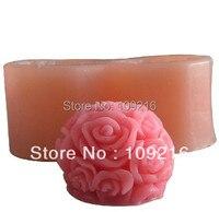 Оптовая продажа! 3d 2-отверстия 4*3.5 см роза с мячом Форма (lz0002) силиконовые ручной Свеча Mold ремесел DIY Плесень
