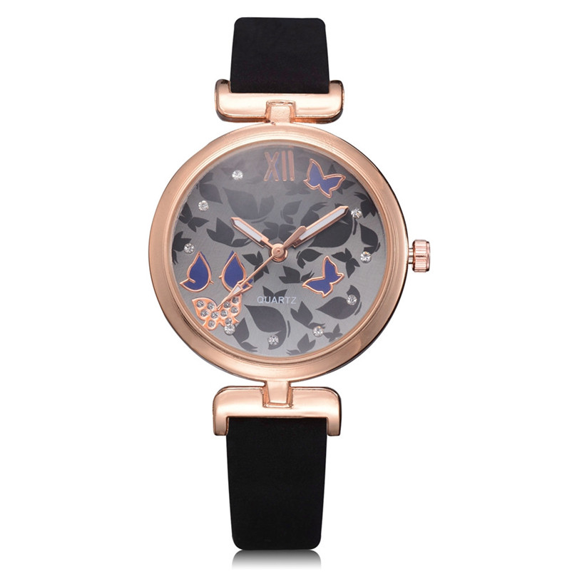 Luxury Fashion Women Watches Beautiful Butterfly Pattern Ladies Leather Band Analog Quartz Round Wrist Watch Relogio Feminino cute cat pattern women fashion watch 2017 leather band analog quartz round wrist watch ladies clock dress watches relogio time