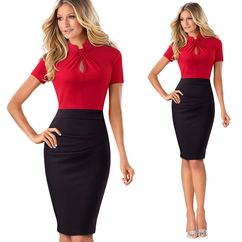 Elegant Work Office Business Drapped Contrasting Bodycon Slim Pencil Lady Dress Women Sexy Front Key Hole Summer Dress EB430 18