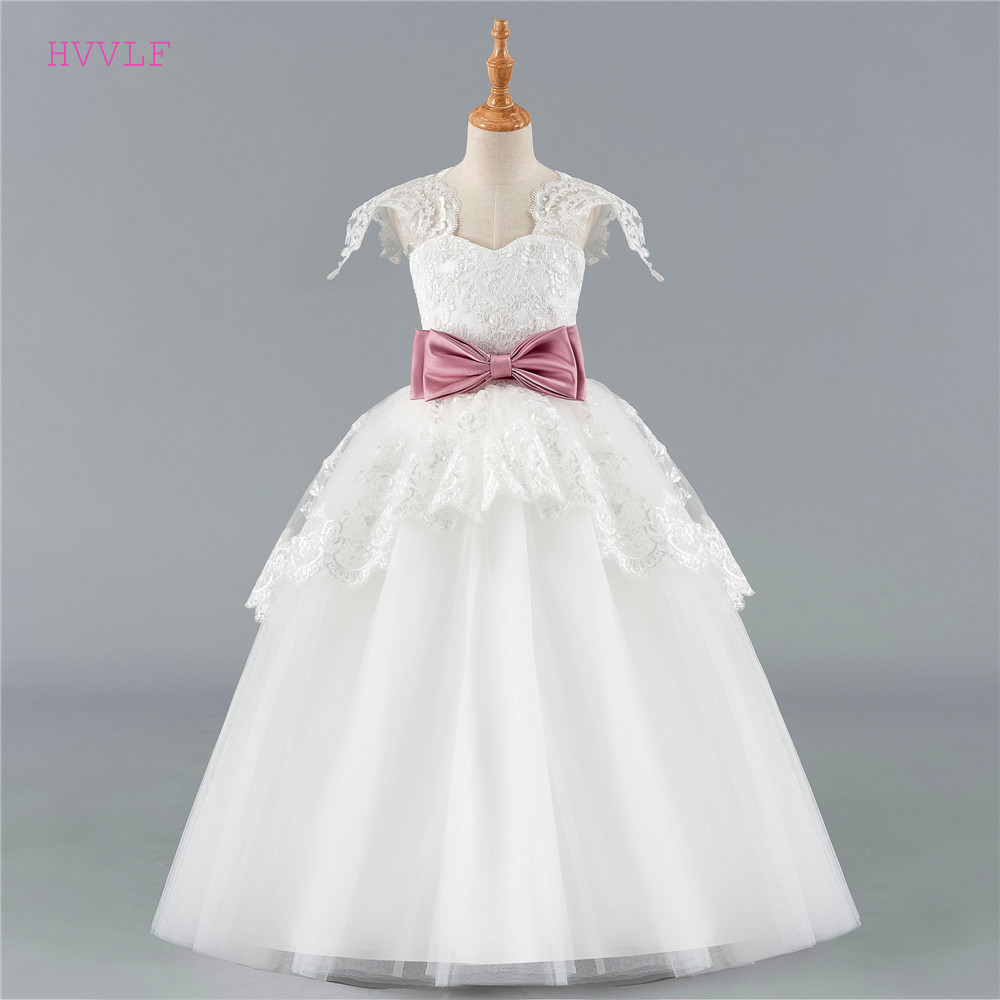 Ivory 2019   Flower     Girl     Dresses   For Weddings Ball Gown Cap Sleeves Tulle Bow Lace First Communion   Dresses   For Little   Girls