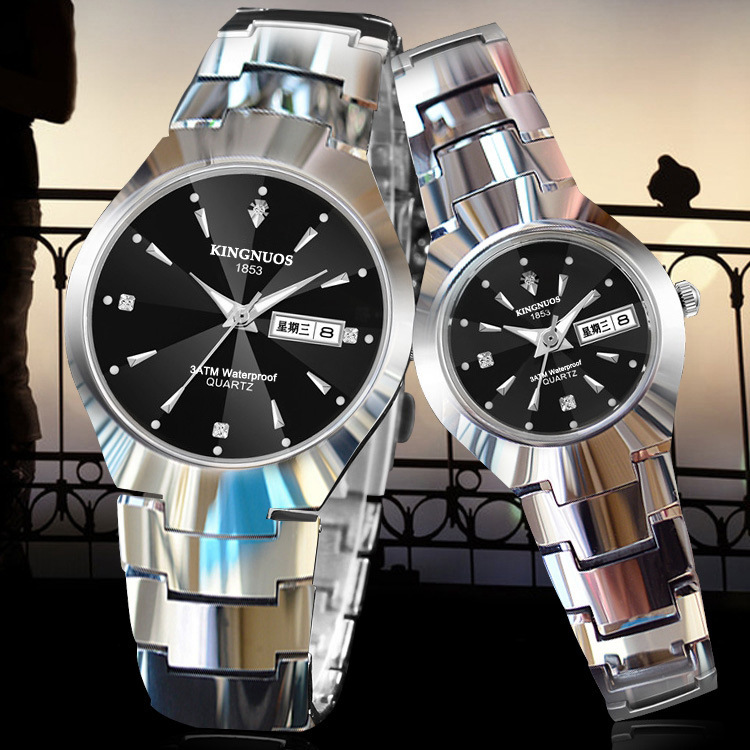 KINGNUOS Fashion Casual Mens Women Wristwatch Auto Date Diamond Couple Luxury Watches Stainless Steel Strap Quartz Lovers Watch
