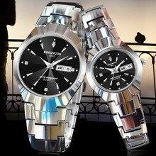 KINGNUOS Fashion Casual Mens Women Wristwatch Auto Date Diamond Couple Luxury Watches