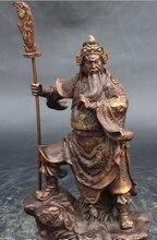 free shipping Chinese Temple Red Bronze Copper Stand Dragon Guan Yu GuanGong God Buddha Statue