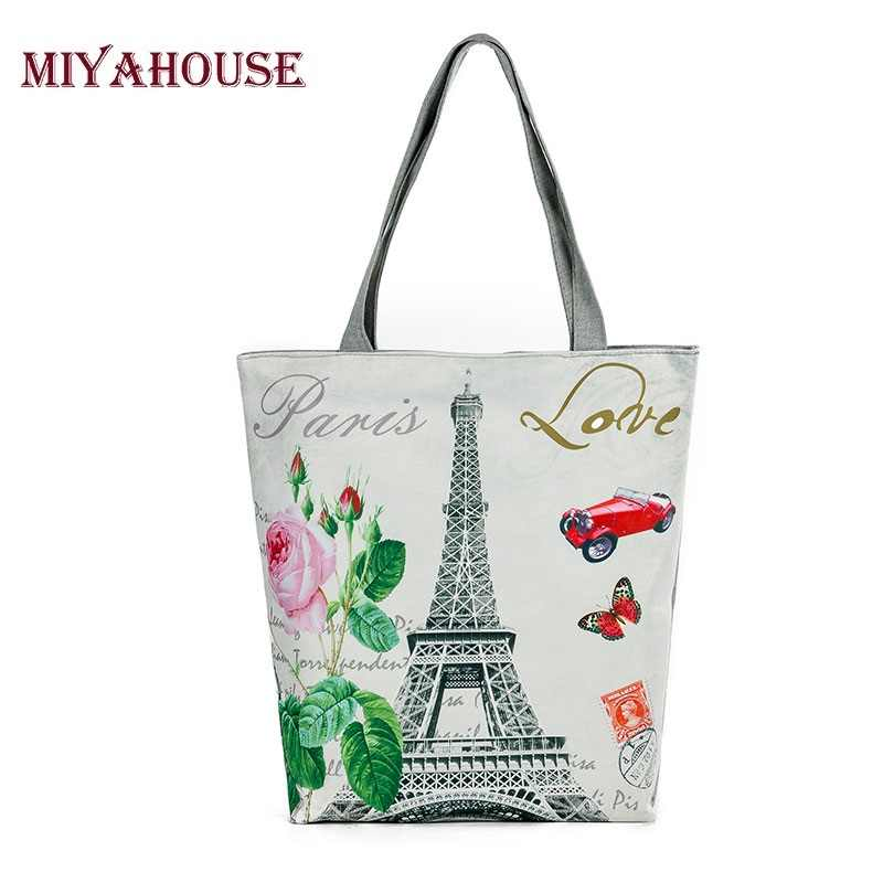 1a1a3a882db Hot Sale Women Canvas Tote Paris Tower Print Female Shoulder Bags Canvas  Beach Bag For Girls Single Shopping Bags Bolsa Feminina
