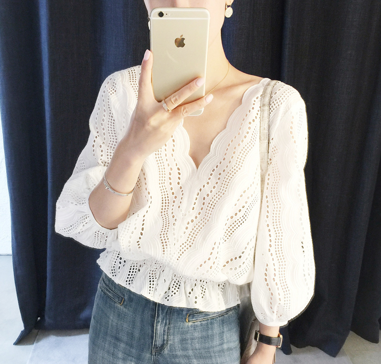 Fashion Sex Women   shirts   V-Neck Lantern Sleeve Waves Hollow Out Embroidered Short   Blouse     Shirt   White 8068