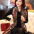1 Pedaço Leopardo Vermelho Elegante Longo Macio Chiffon de Seda do Envoltório do Lenço do Xaile Lenços Para A Mulher Lady Meninas