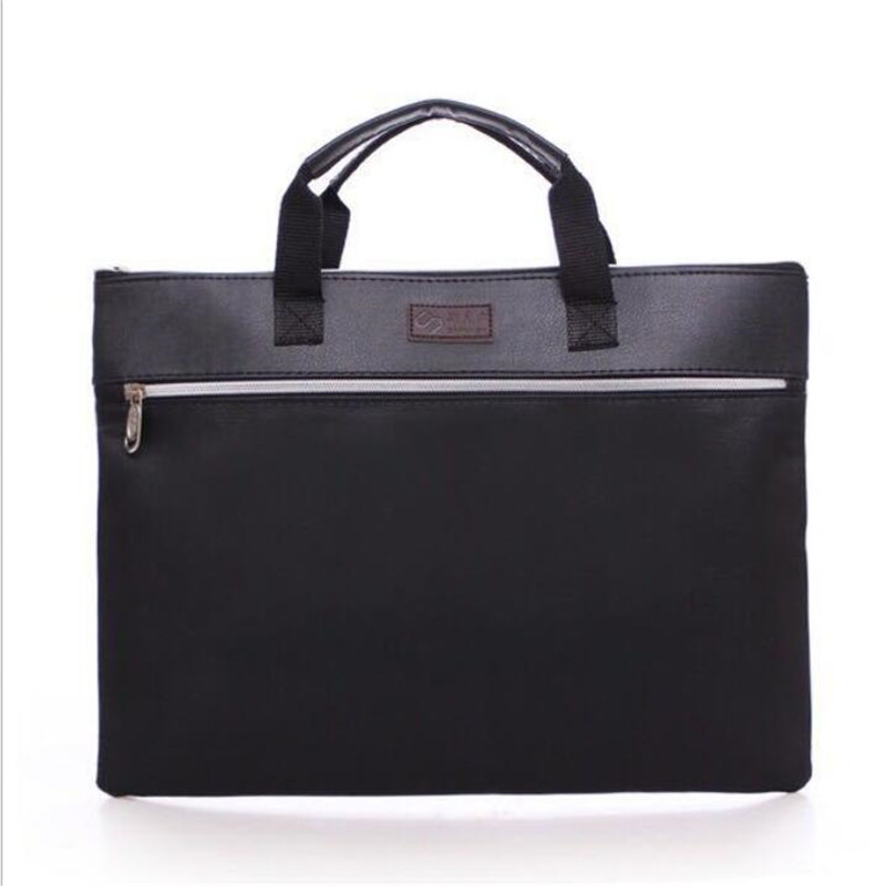 INHO CHANCY Brand Double Zipper Portable Briefcase Leather File Bag Meeting Bag