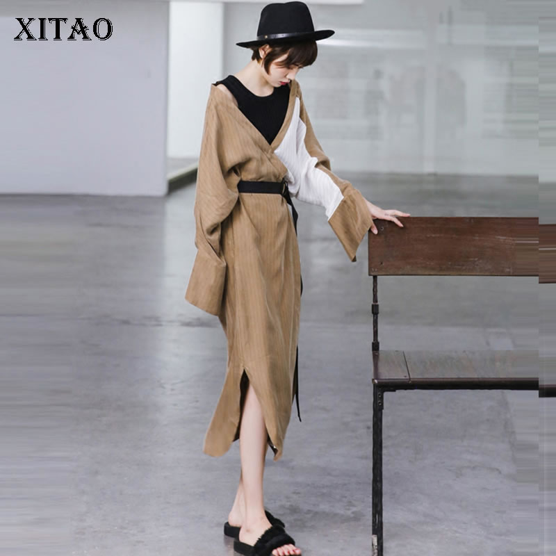[XITAO] Autumn 2018 New Korea Fashion Women False Two Pieces Striped Bandage Dress Female Full Sleeve O Neck Dress KZH2596
