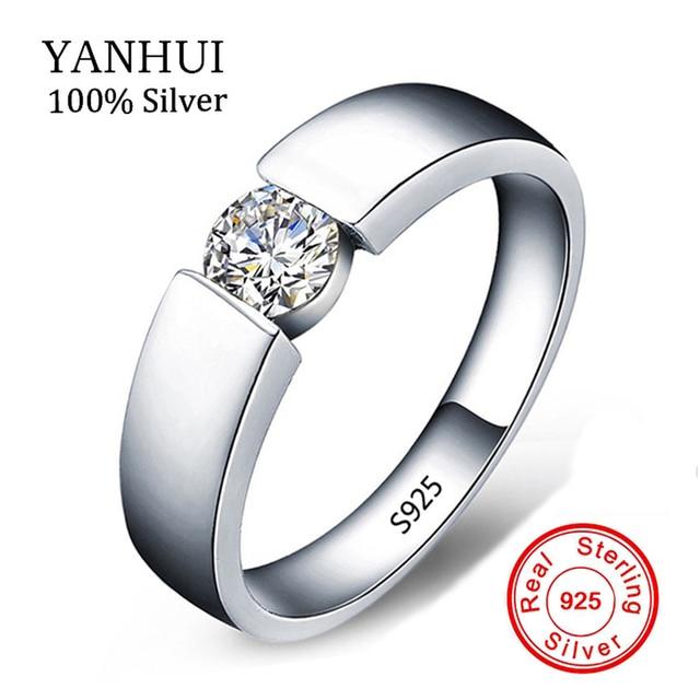 Send Silver Certificate 100 Original Solid Ring Men Jewelry Sona Cz Diamant Brand