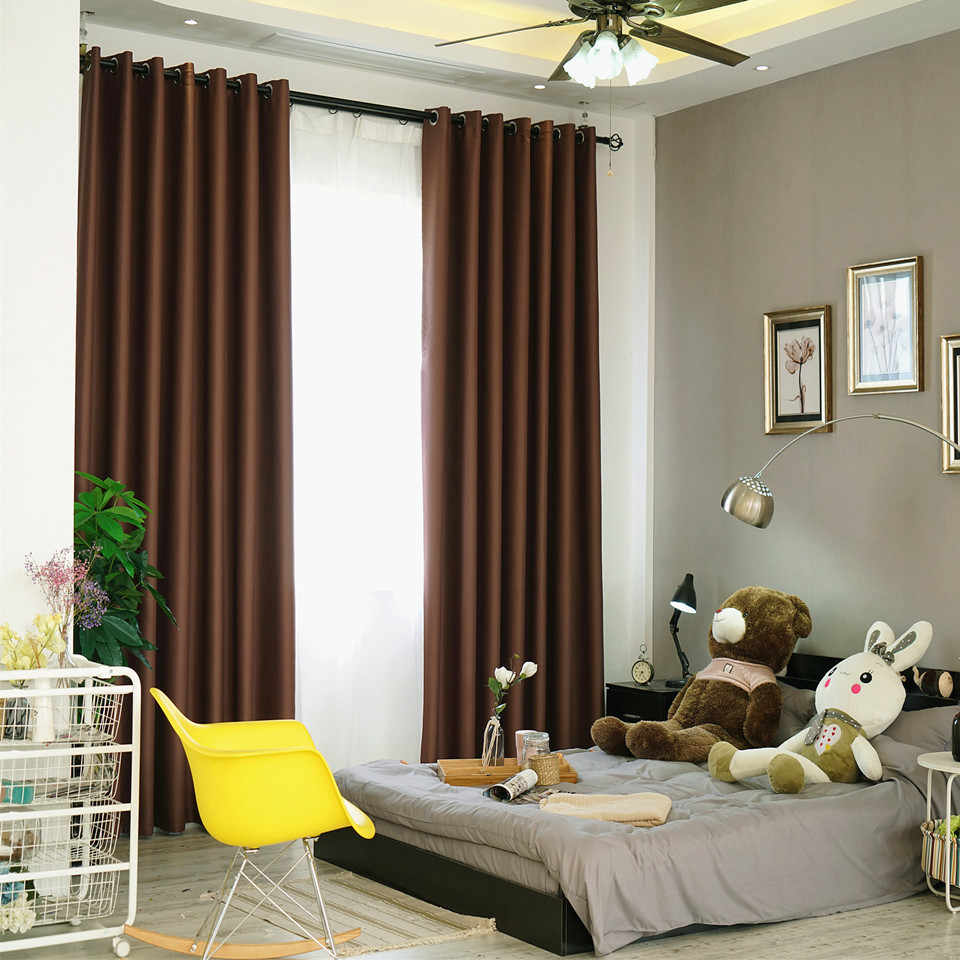 Pure Solid Color Thick Cloth Curtains for Bedroom Blackout Violet Coffee Pastoral Rustic New Home Decoration Window Drapes P092C