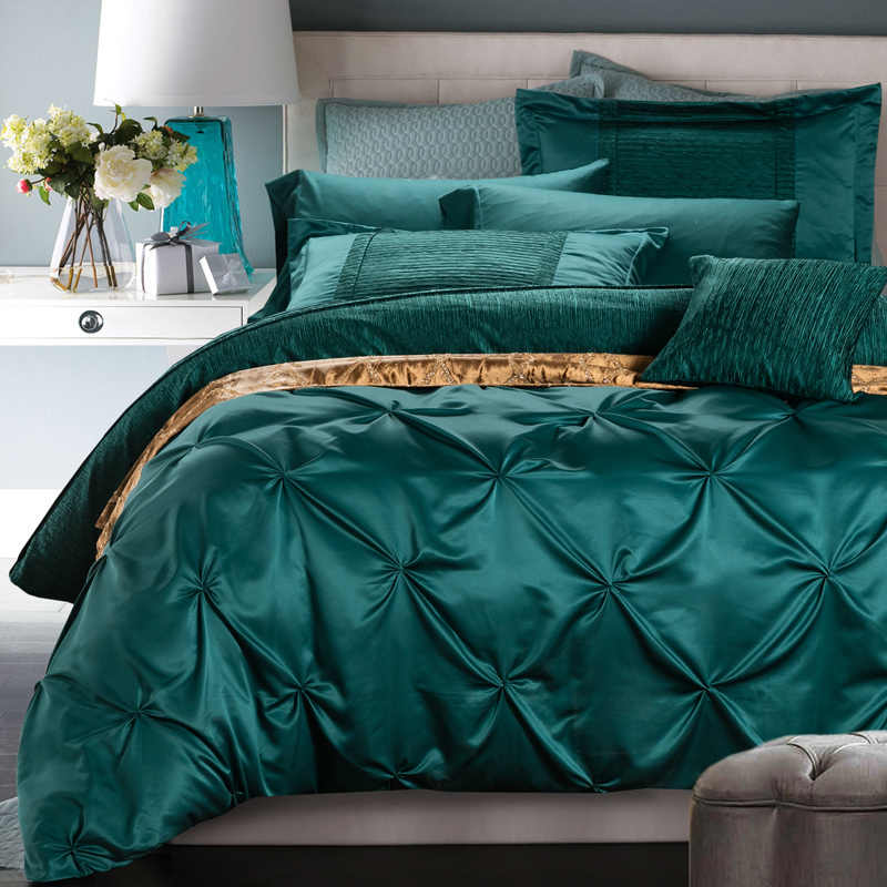 4 6 pieces cotton imitated silk luxury bedding set pinch pleat bed set king queen bed linens duvet cover bed sheet green red