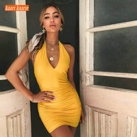 Fashion Yellow Mini Cocktail Dresses 2019 Black Sexy Prom Dress V Neck Pleat Backless Slim Fit Club Celebrity Formal Party Gown